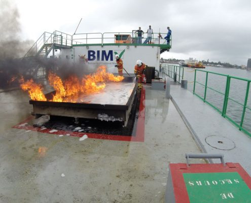 Maritime & Offshore STCW IMO Fire Fighting training at our floating training unit in Congo